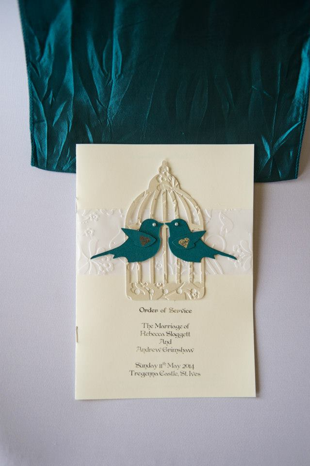 Order of Service with Love Birds Design in Teal and Ivory