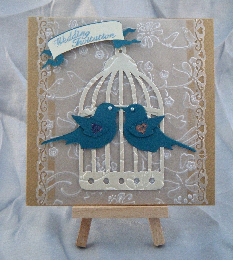 Love Birds Design in Teal, Kraft and Ivory