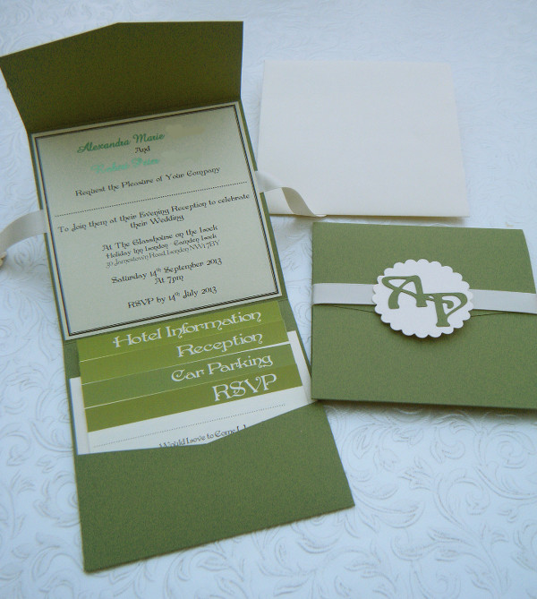 Monogrammed Pocket Invite in Olive Green with Ribbon Closure