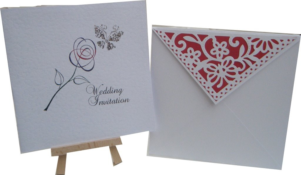 Butterfly and Rose Design foiled on hammered card with butterfly envelope flap