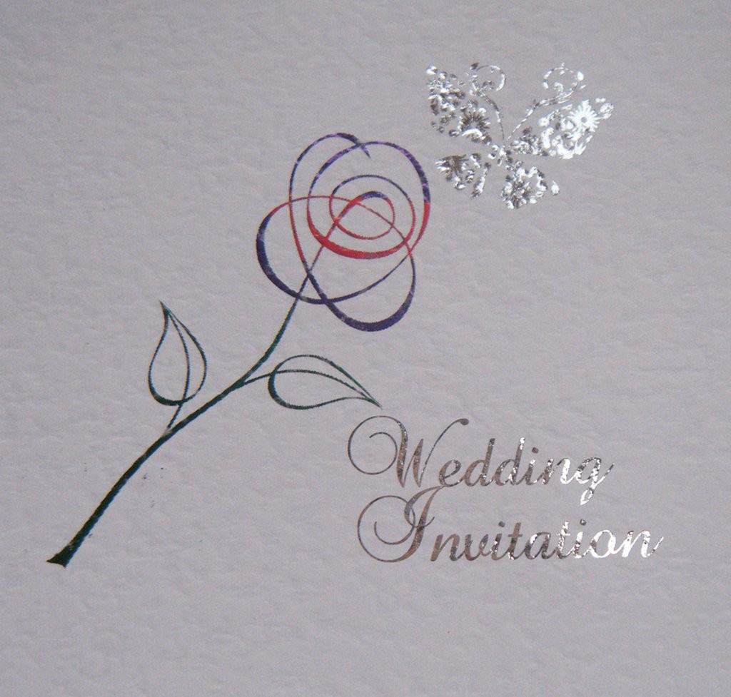Foiled Butterfly Rose Design on Hammered Card