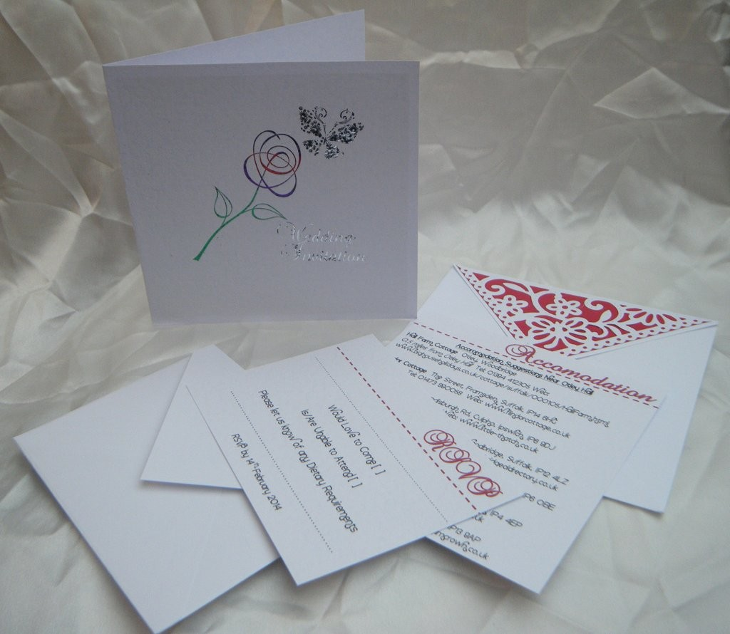 Foiled Invite with Envelopes and Info Cards