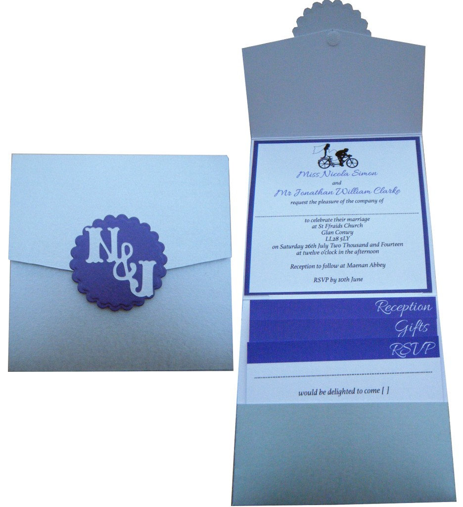 Monogrammed Pocket Invite in Silver and Purple with bespoke bike image