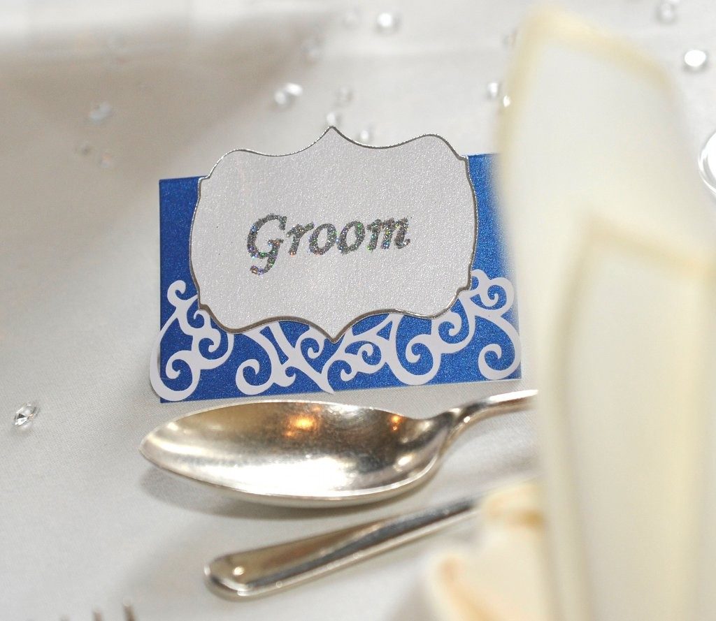 Glittered Place Name in coordinating Wedding Colours