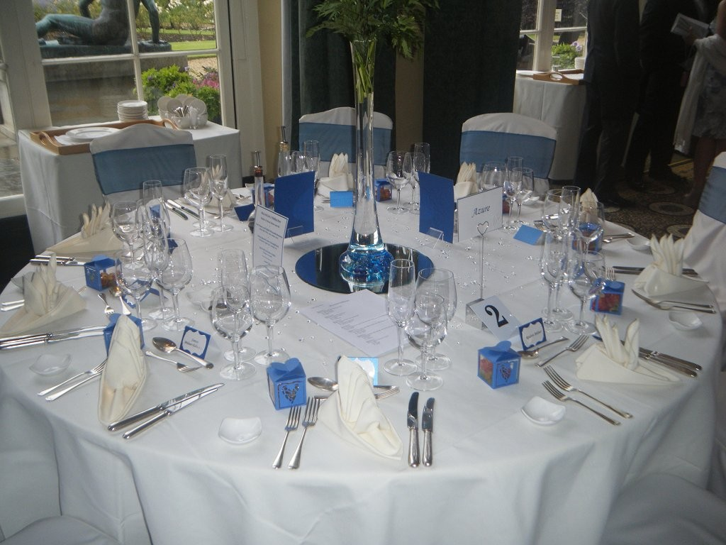 Wedding Table Set out with place names, favour boxes, menus and table names