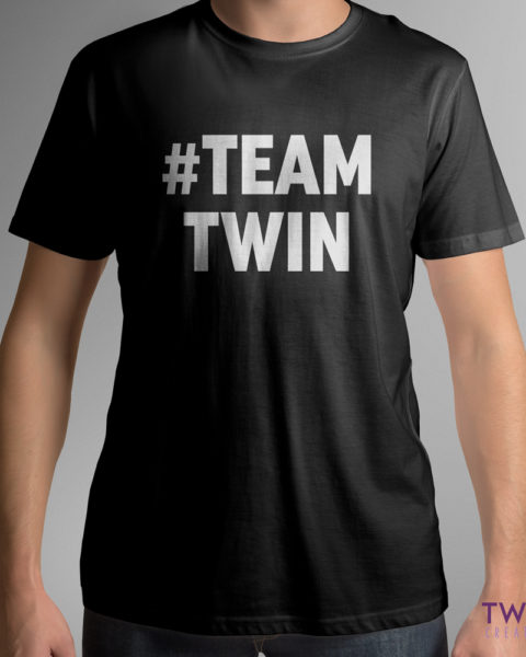 team twin bold mens tee black