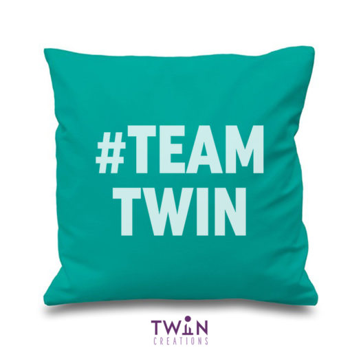#TEAMTWIN bold cushion cover teal