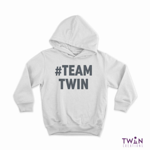 TEAMTWIN Children's Hoodie White and Grey
